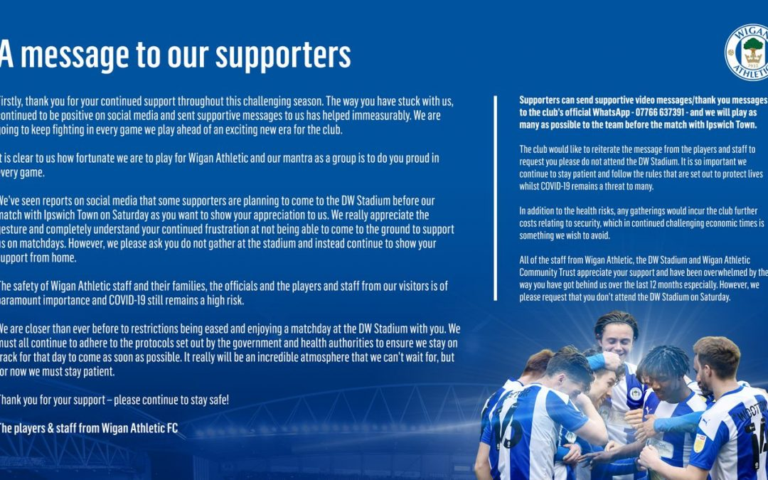 Players appeal to fans at Wigan Athletic